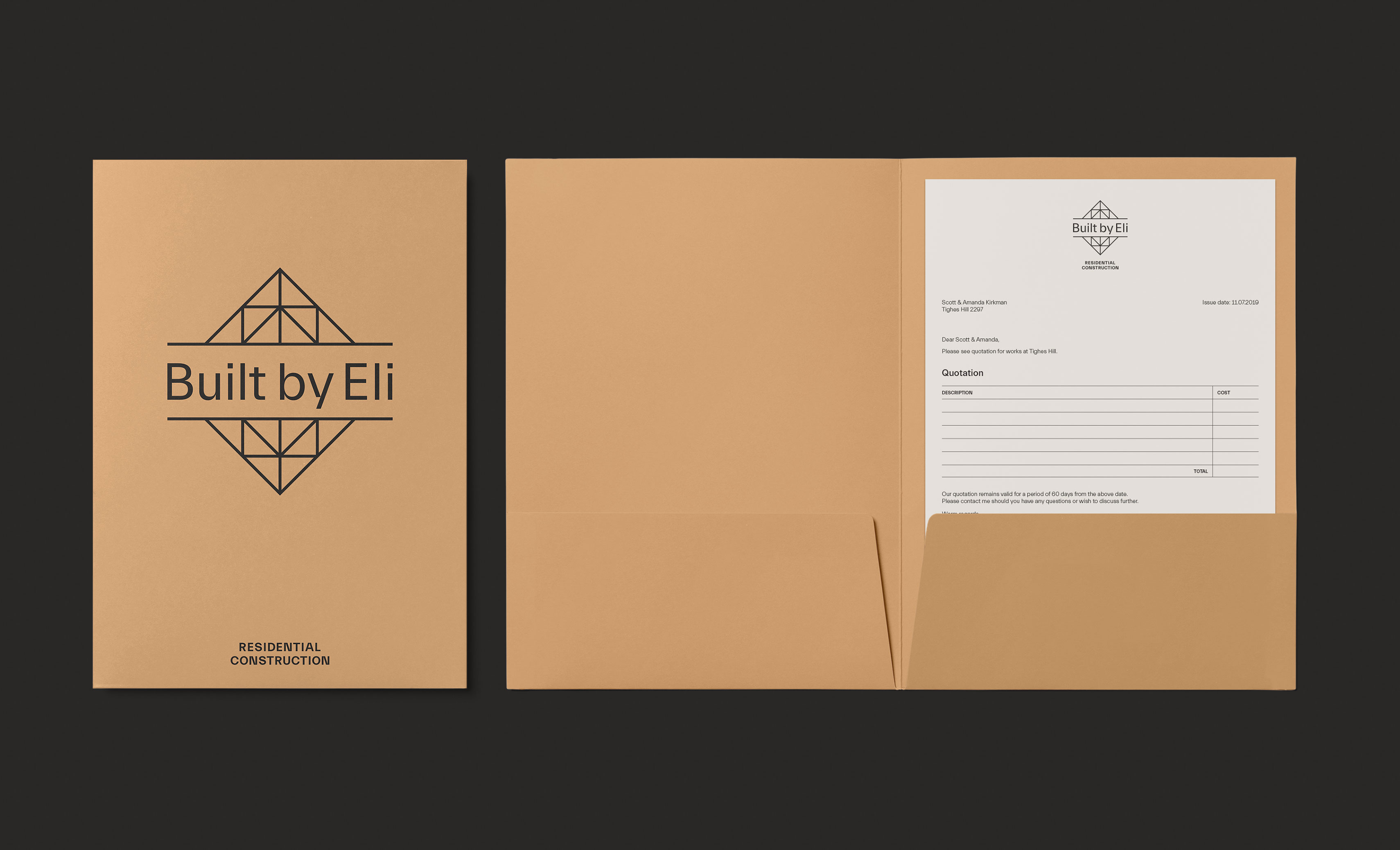 Built by Eli Logo Design Presentation Folder